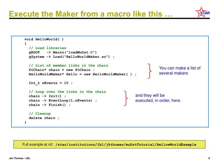 Execute the Maker from a macro like this …