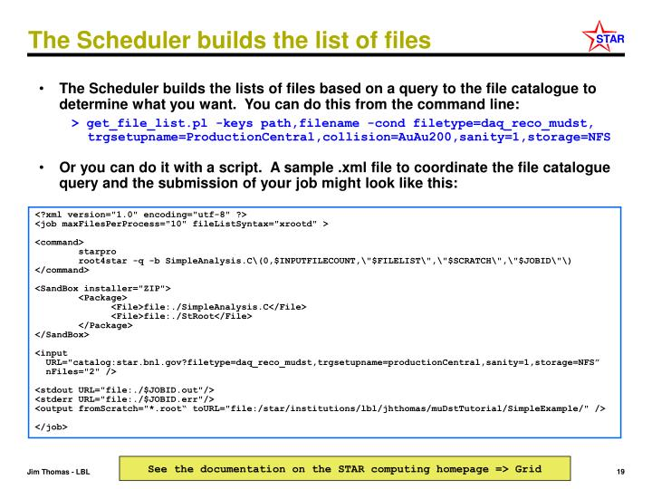 The Scheduler builds the list of files