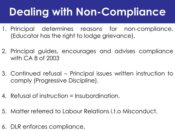 Dealing with Non-Compliance