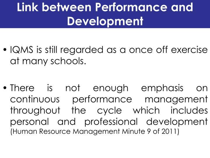 Link between Performance and Development