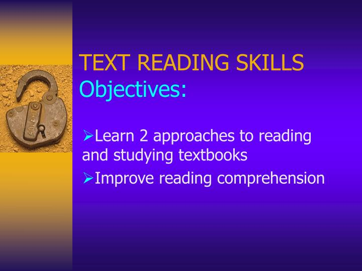 text reading skills objectives n.