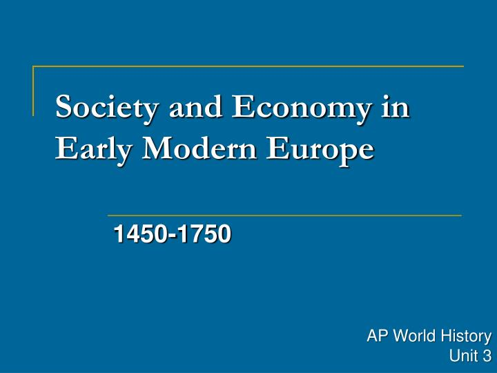 society and economy in early modern europe n.