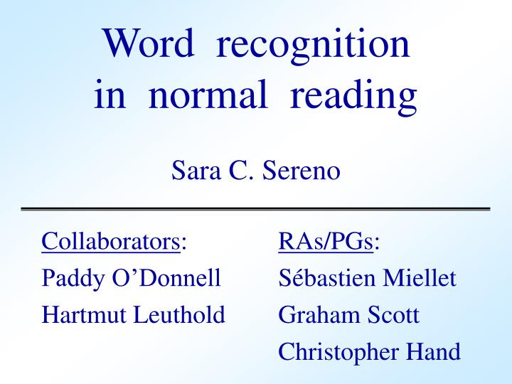 word recognition in normal reading n.