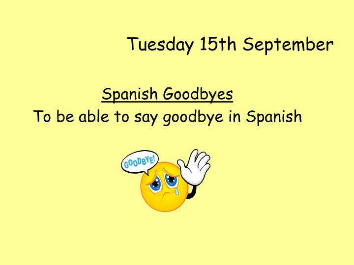 tuesday 15th september n.