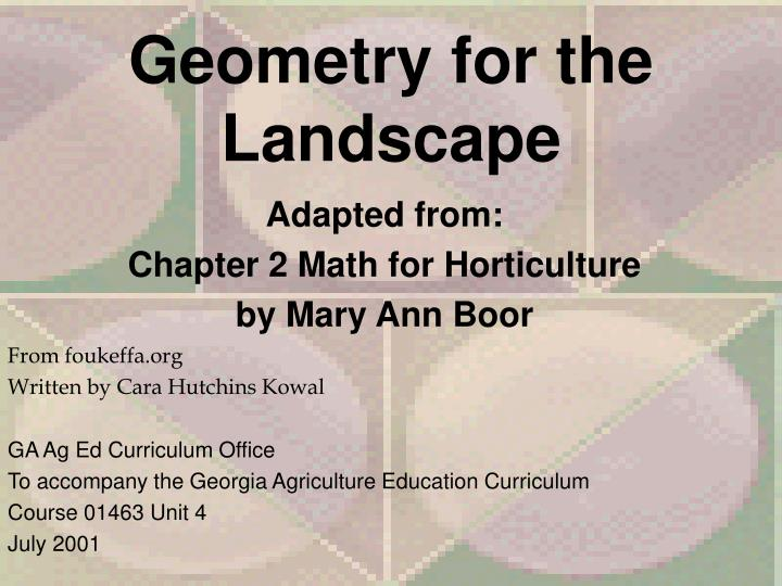 geometry for the landscape n.