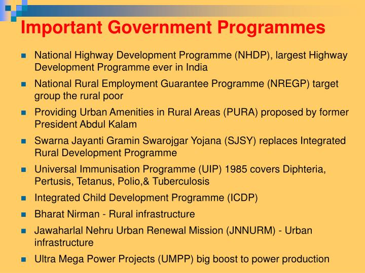 Important Government Programmes