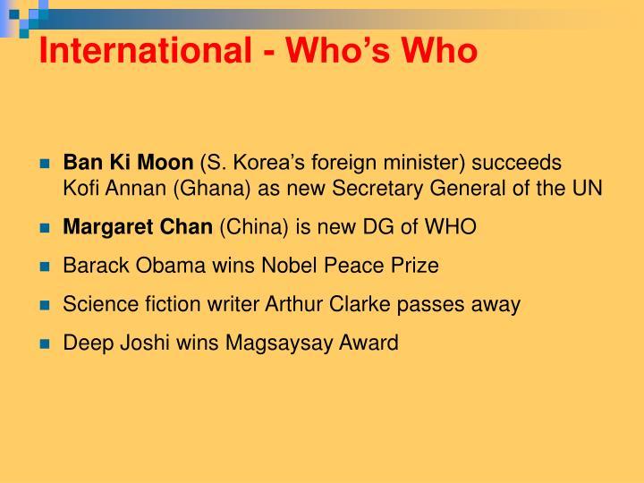 International - Who's Who