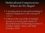 multicultural competencies where do we begin