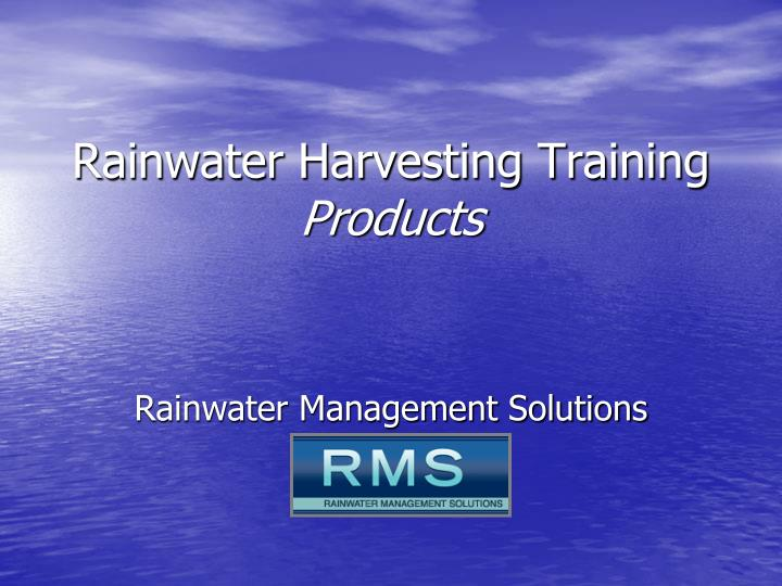 rainwater harvesting training products n.