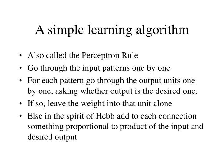 A simple learning algorithm