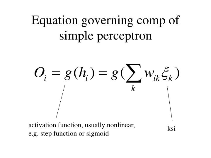 Equation governing comp of simple perceptron