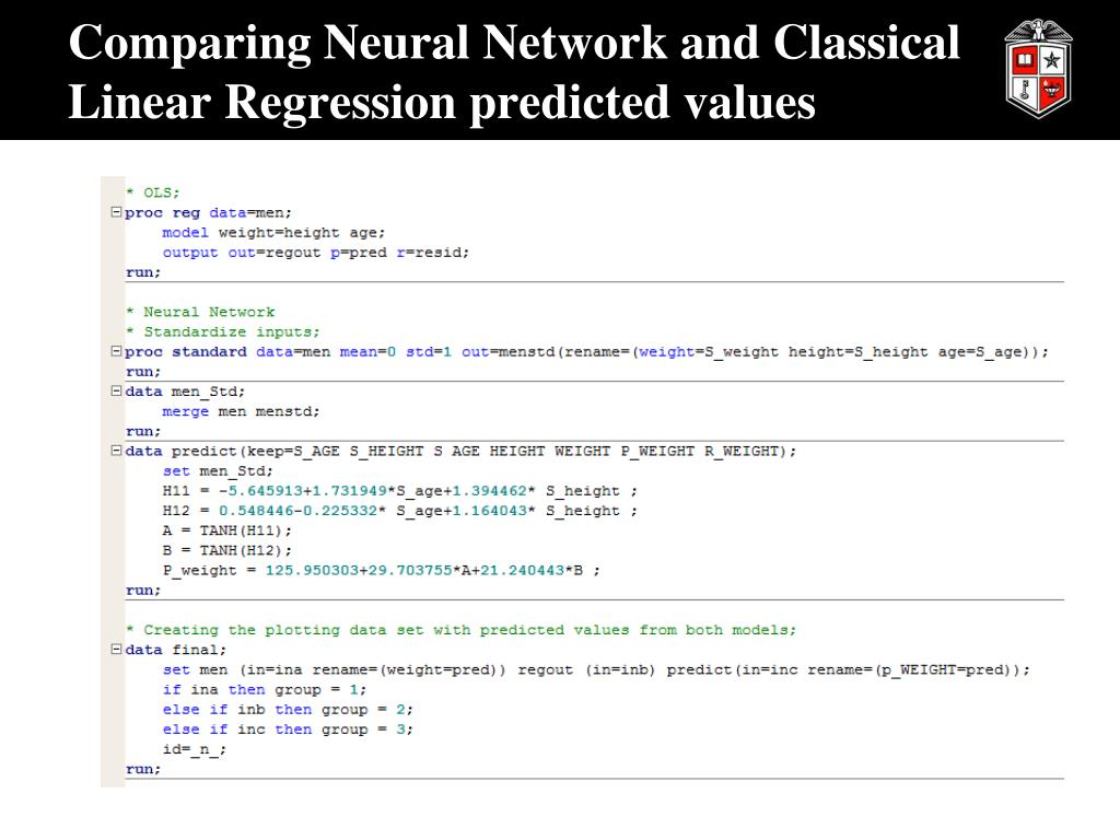 PPT - Neural Networks and Classical Linear Regression PowerPoint
