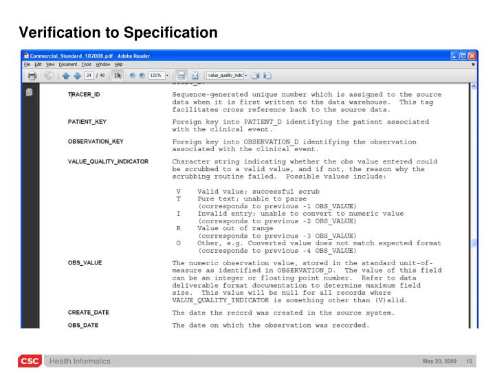 Verification to Specification