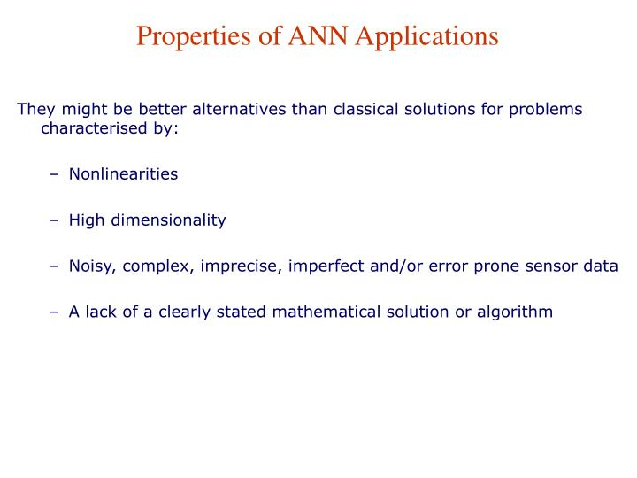 Properties of ANN