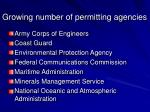 growing number of permitting agencies