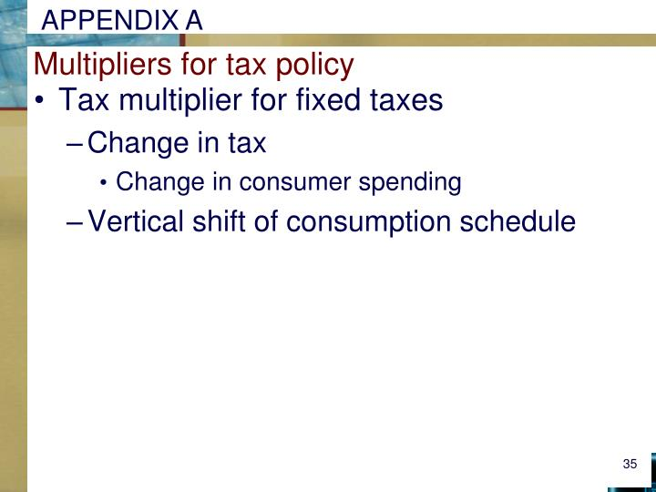 Multipliers for tax policy