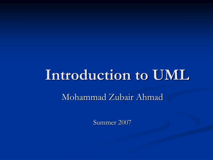 introduction to uml n.