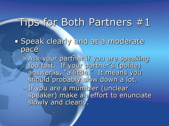 Tips for Both Partners #1