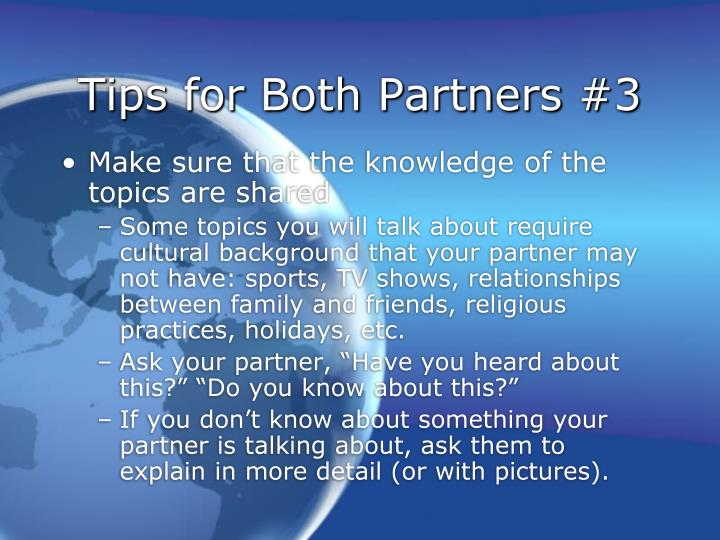Tips for Both Partners #3