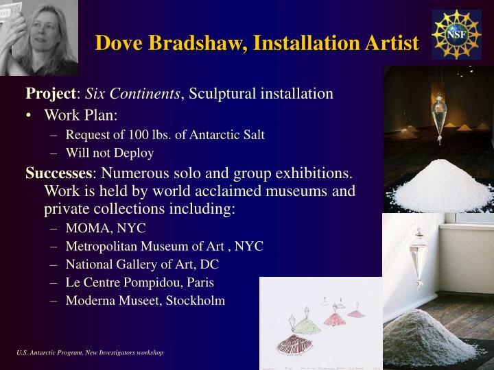 Dove Bradshaw, Installation Artist