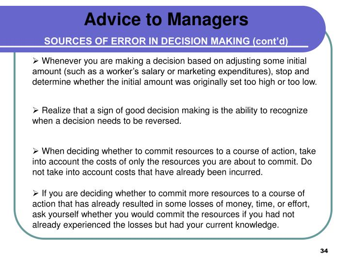 Advice to Managers