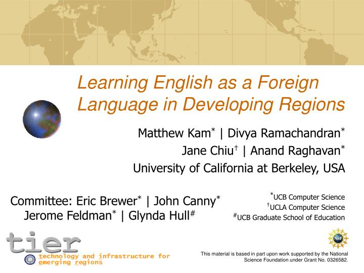 learning english as a foreign language in developing regions n.