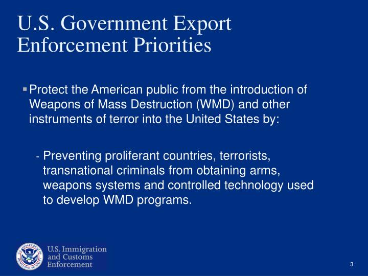 U s government export enforcement priorities
