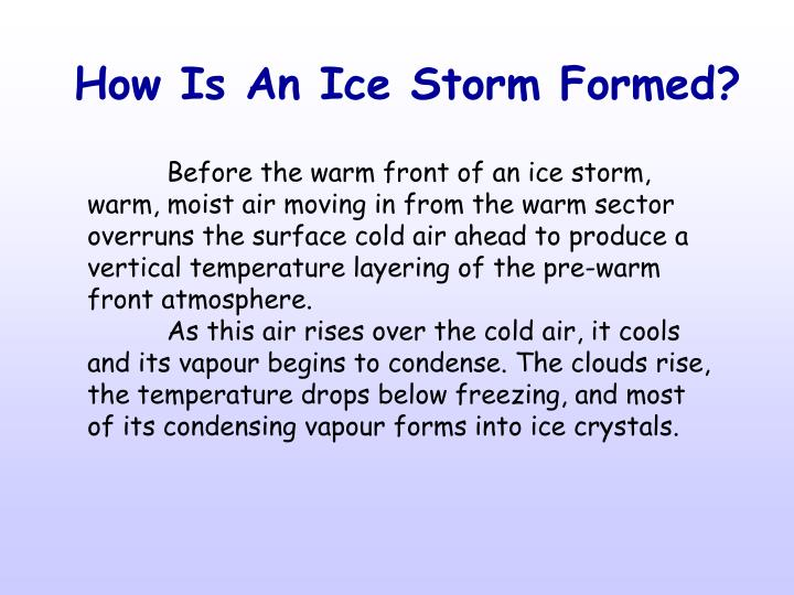 How Is An Ice Storm Formed?