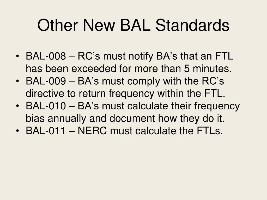 Other New BAL Standards