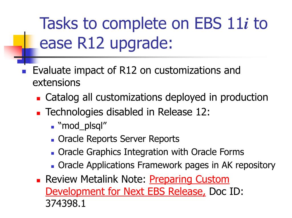 PPT - Get ready for EBS Release 12! Tasks to complete now to ease