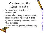 constructing the questionnaire