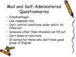 mail and self administered questionnaires1