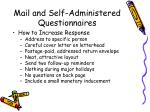 mail and self administered questionnaires2