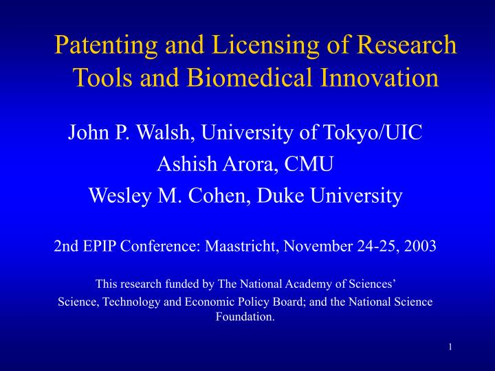 patenting and licensing of research tools and biomedical innovation n.