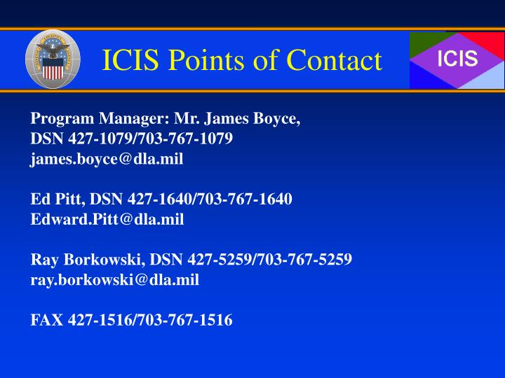 ICIS Points of Contact