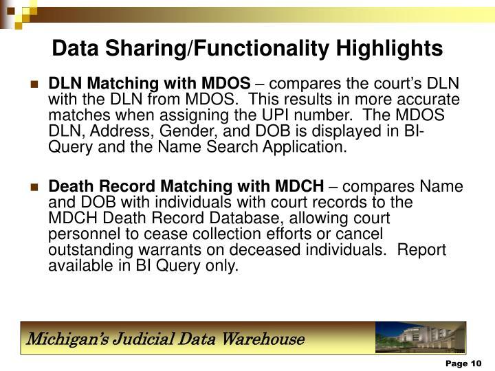 Data Sharing/Functionality Highlights