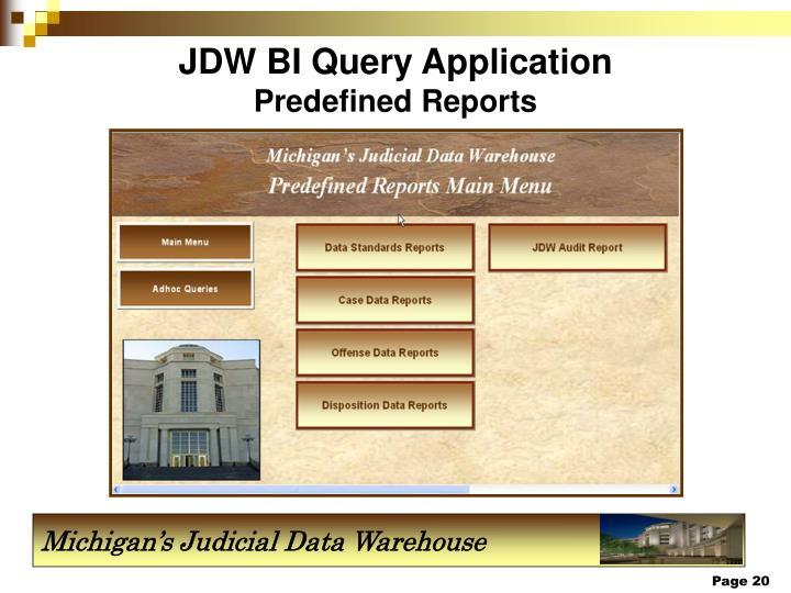 JDW BI Query Application