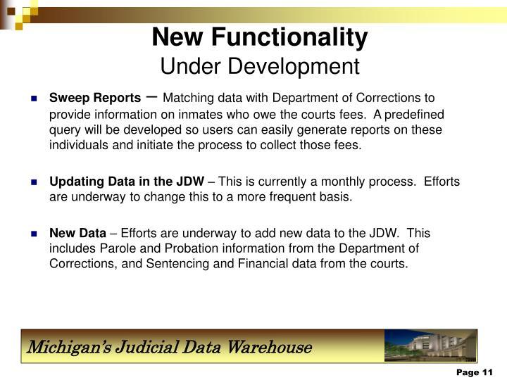 New Functionality