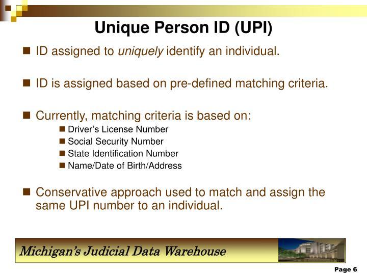 Unique Person ID (UPI)
