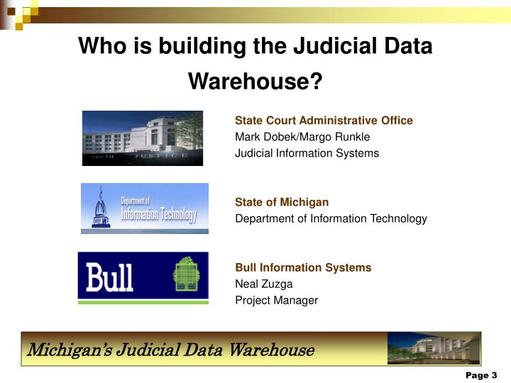 Who is building the judicial data warehouse