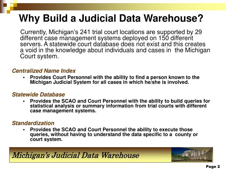 Why build a judicial data warehouse
