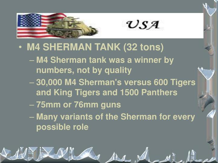 M4 SHERMAN TANK (32 tons)
