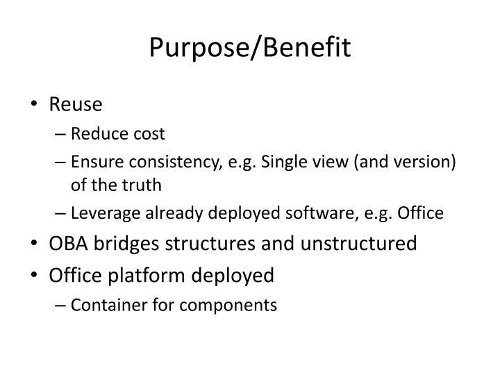 Purpose/Benefit