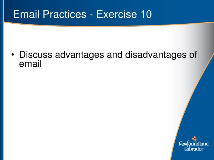 Email Practices - Exercise 10