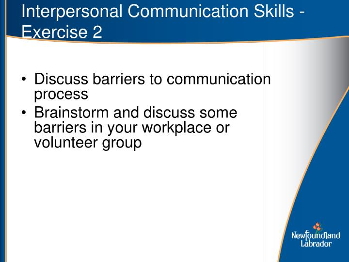 Interpersonal Communication Skills - Exercise 2