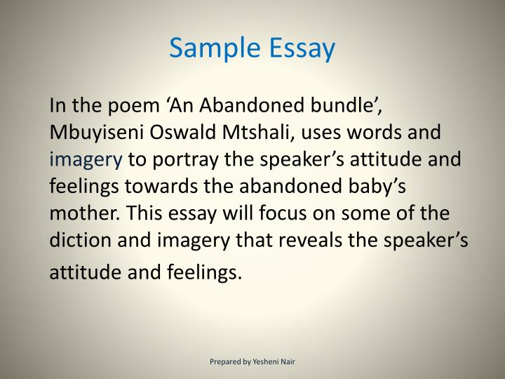 an abandoned bundle essay An abandoned bundle is characterised by graphic imagery of appalling savagery the images are meant to shock indeed, the very powerful visual impact instills in the reader a strong feeling of disgust for the dreadful conditions under which the people of white city jabavu lived.