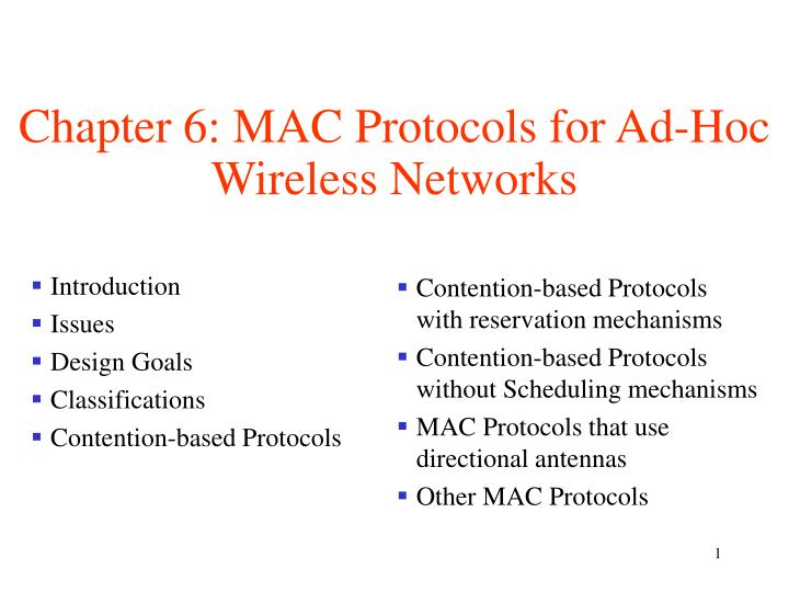 Chapter 6 mac protocols for ad hoc wireless networks