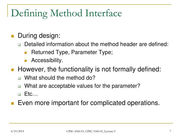 Defining Method Interface