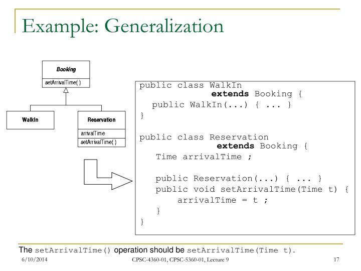 Example: Generalization
