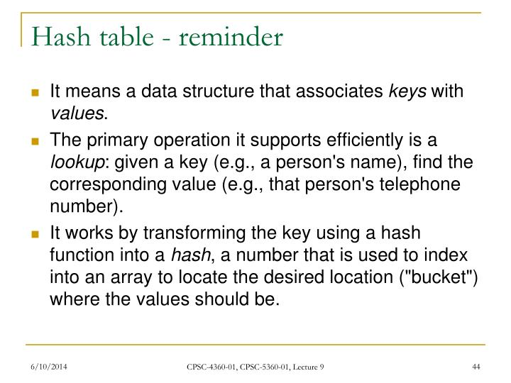 Hash table - reminder